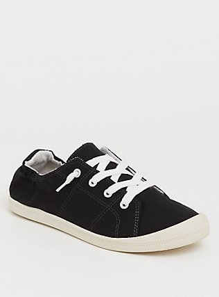 Plus Size Black Ruched Sneaker (WW), BLACK, hi-res