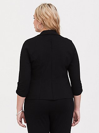 Studio Soho Premium Ponte Back Stretch Blazer, DEEP BLACK, alternate