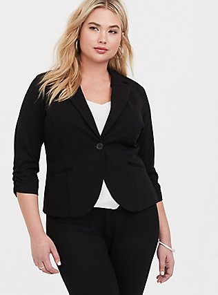 Studio Soho Premium Ponte Back Stretch Blazer, DEEP BLACK, hi-res