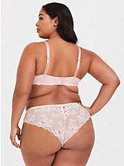 Plus Size Blush Pink Microfiber & Lace Push-Up Plunge Bra, LOTUS, alternate