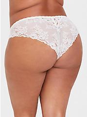 Plus Size Blush Pink Microfiber & Lace Cheekster Panty, LOTUS, alternate