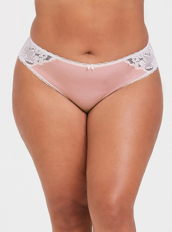 Plus Size Blush Pink Microfiber & Lace Cheekster Panty, , hi-res