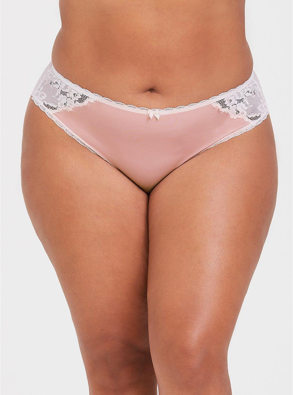 Plus Size Blush Pink Microfiber & Lace Cheekster Panty, LOTUS, hi-res