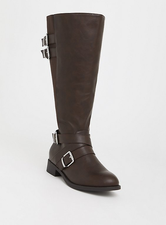 Brown Faux Leather Buckle Boot (Wide Width & Wide to Extra Wide Calf), , hi-res
