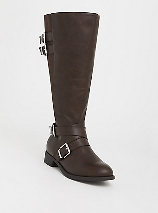 Brown Faux Leather Buckle Boot (Wide Width & Wide to Extra Wide Calf), BROWN, hi-res