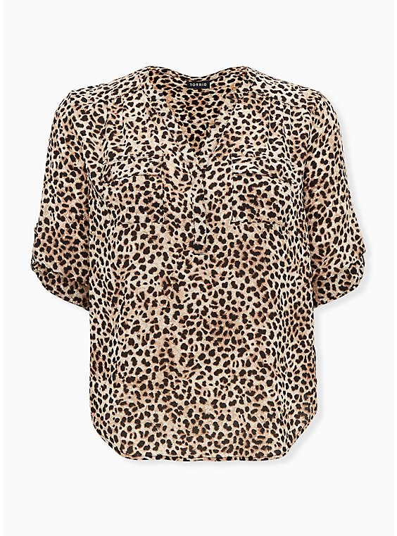 Harper - Leopard Georgette Pullover Blouse, CHEE LEOPARD, ls