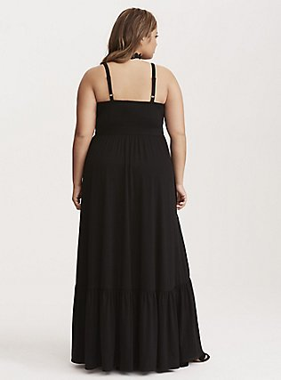 Black Jersey Shirred Hem Maxi Dress, , alternate