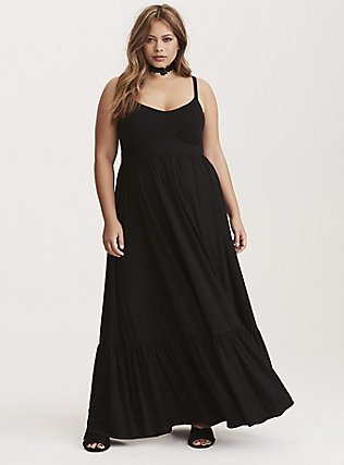 Black Jersey Shirred Hem Maxi Dress, , hi-res