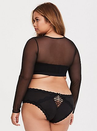 Plus Size Black Mesh Long Sleeve Under-It-All Crop Top, RICH BLACK, alternate