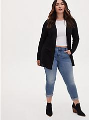 Plus Size Black Hacci Cardigan, DEEP BLACK, alternate