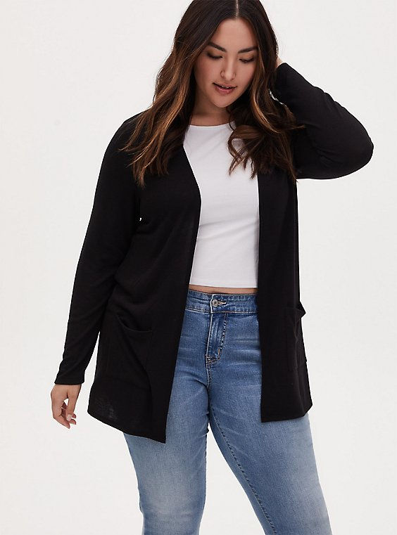 Plus Size Black Hacci Cardigan, , hi-res