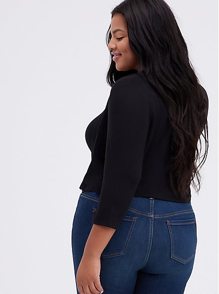 Black Open Front Shrug, DEEP BLACK, alternate