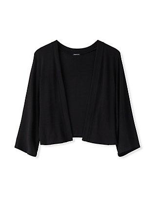 Plus Size Black Open Front Shrug, DEEP BLACK, flat