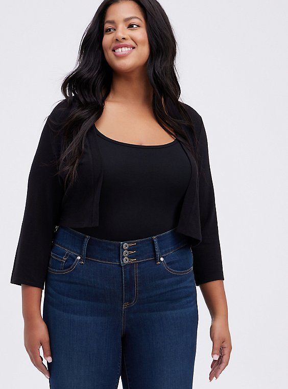 Plus Size Black Open Front Shrug, , hi-res