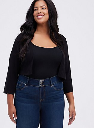 Plus Size Black Open Front Shrug, DEEP BLACK, hi-res