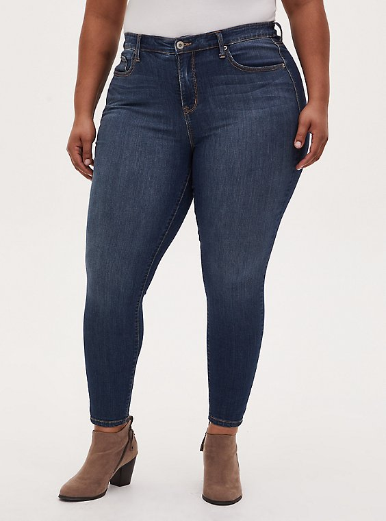 Plus Size Sky High Skinny Jean - Premium Stretch Dark Wash, , hi-res