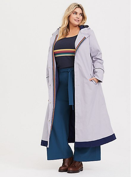 Her Universe Doctor Who Navy & Rainbow Stripe Top, BLUE, alternate