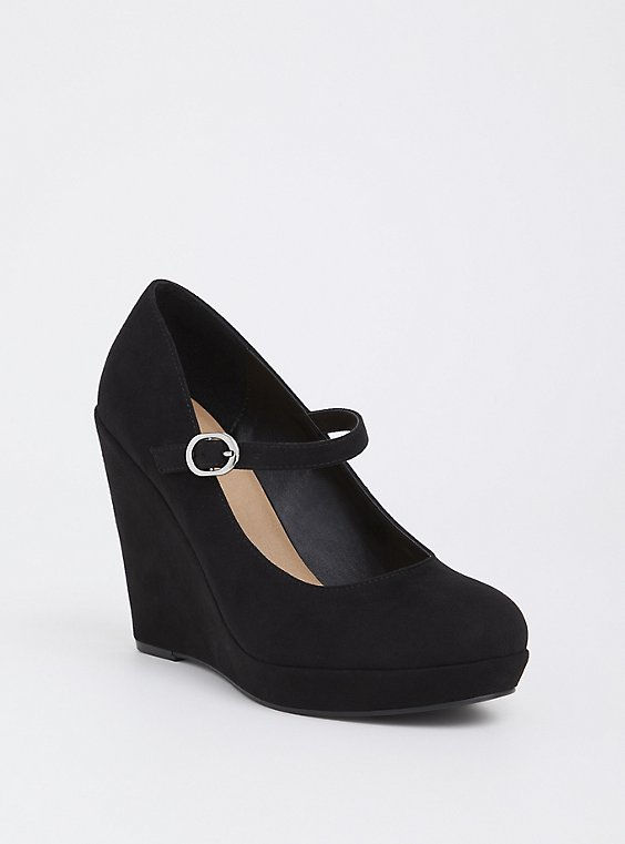 Black Faux Suede Mary Jane Wedge (WW), , hi-res