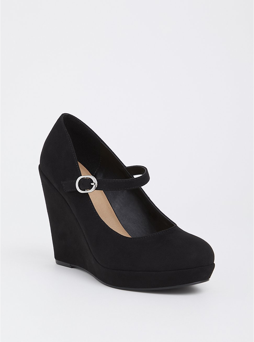 Black Faux Suede Mary Jane Wedge (WW), BLACK, hi-res