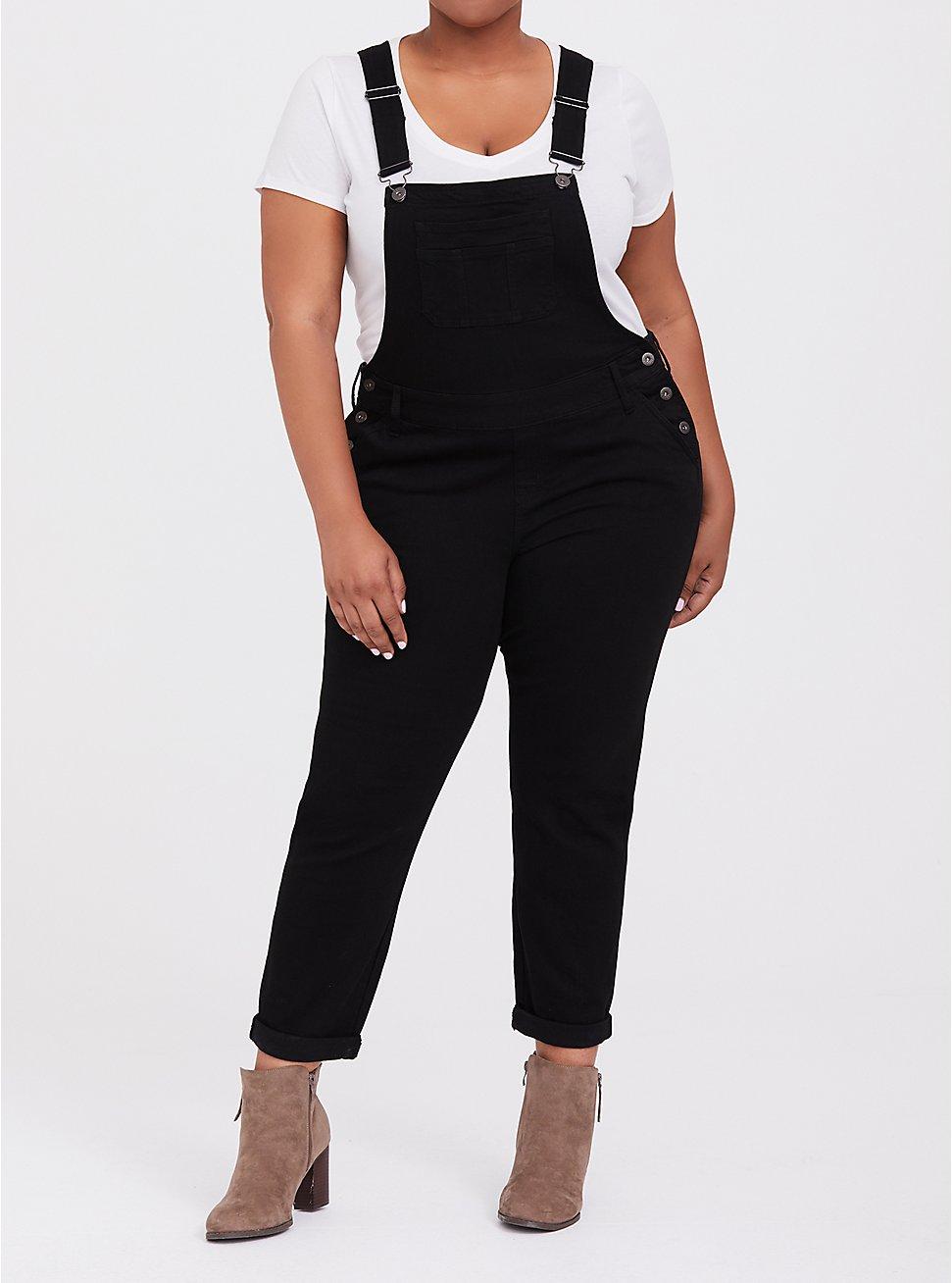 Plus Size Crop Overall Jean - Premium Stretch Black, BLACK, hi-res