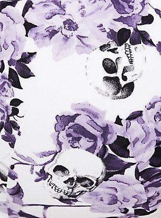 Purple Floral Skull Microfiber 360° Back Smoothing™ Lightly Lined T-Shirt Bra, GRACEFUL SKULL, alternate