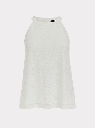 Plus Size White Lace Goddess Tank, CLOUD DANCER, flat