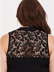Black Lace Illusion Foxy Tank, DEEP BLACK, alternate