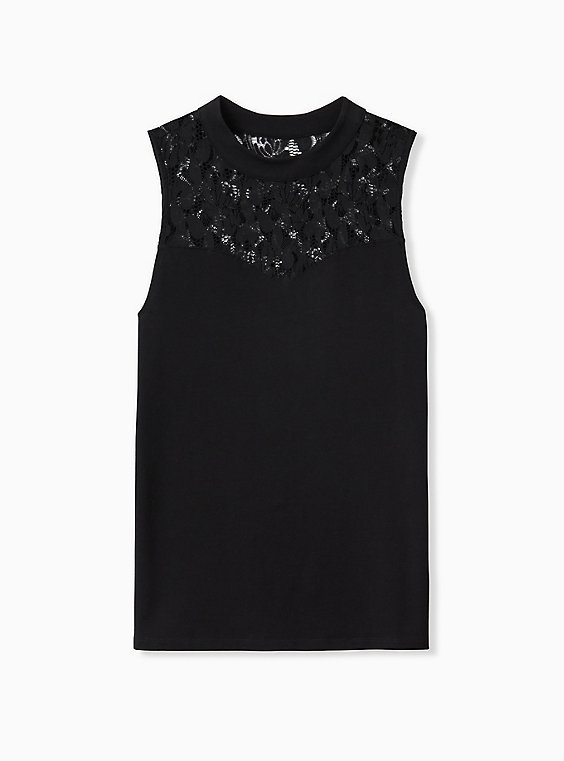 Black Lace Illusion Foxy Tank, , hi-res