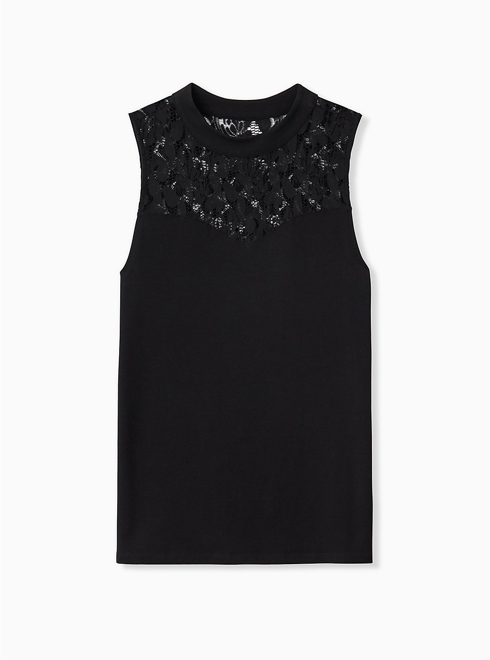 Black Lace Illusion Foxy Tank, DEEP BLACK, hi-res