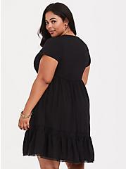 Plus Size Black Lace & Challis Skater Dress, DEEP BLACK, alternate