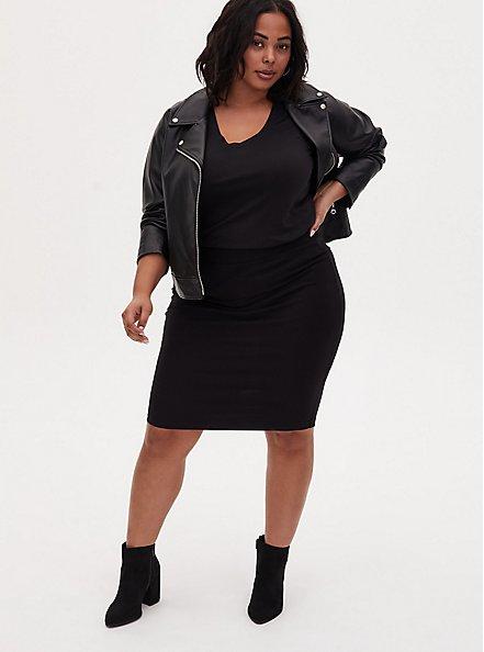 Plus Size Classic Fit V-Neck Tee - Heritage Cotton Black, DEEP BLACK, alternate