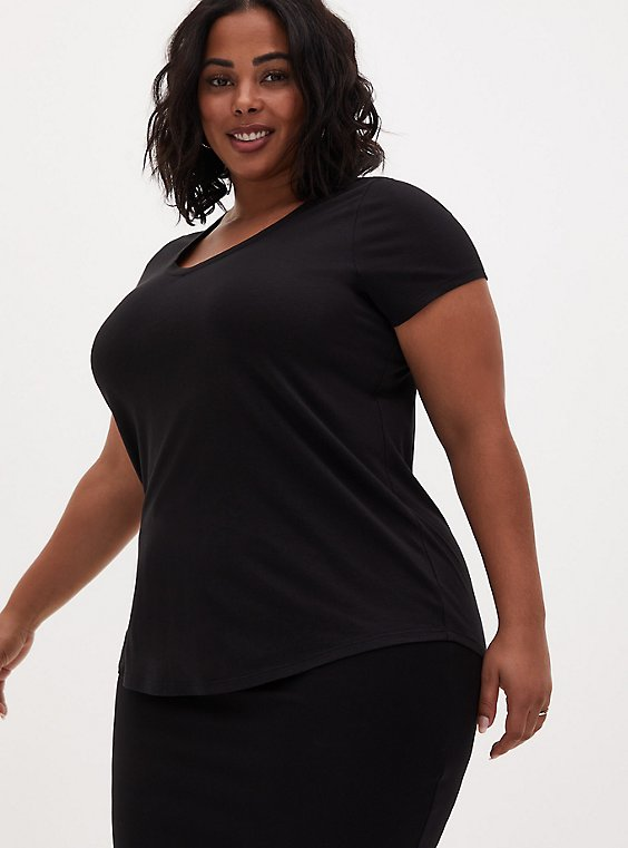 Plus Size Classic Fit V-Neck Tee - Heritage Cotton Black, DEEP BLACK, hi-res