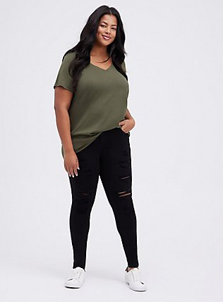 Plus Size Classic Fit V-Neck Tee - Heritage Cotton Olive Green, DEEP DEPTHS, alternate