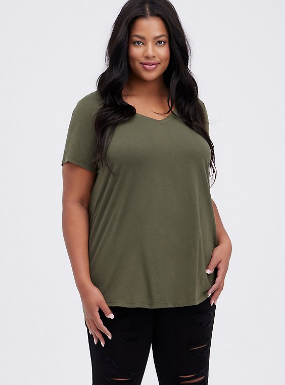 Plus Size Classic Fit V-Neck Tee - Heritage Cotton Olive Green, , hi-res