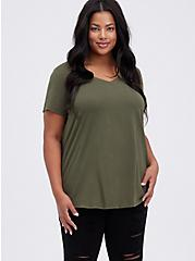 Classic Fit V-Neck Tee - Heritage Cotton Olive Green, DEEP DEPTHS, hi-res