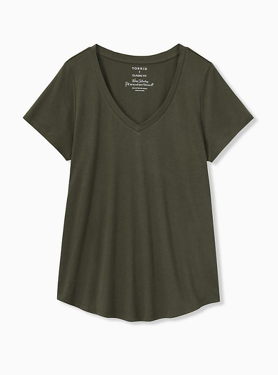 Classic Fit V-Neck Tee - Heritage Cotton Olive Green, DEEP DEPTHS, ls