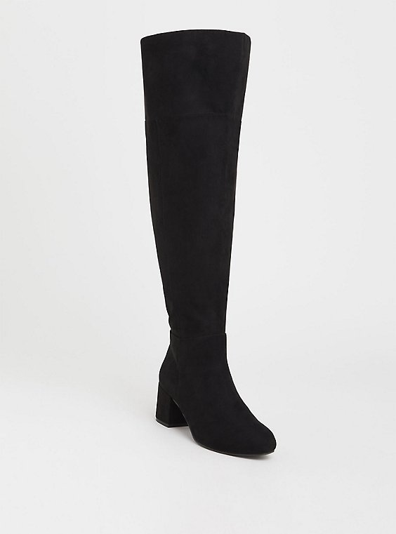 Black Faux Suede Over The Knee Boot (WW & Wide To Extra Wide Calf), , hi-res