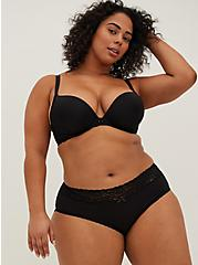 Plus Size Black Wide Lace Cotton Cheeky Panty, RICH BLACK, alternate