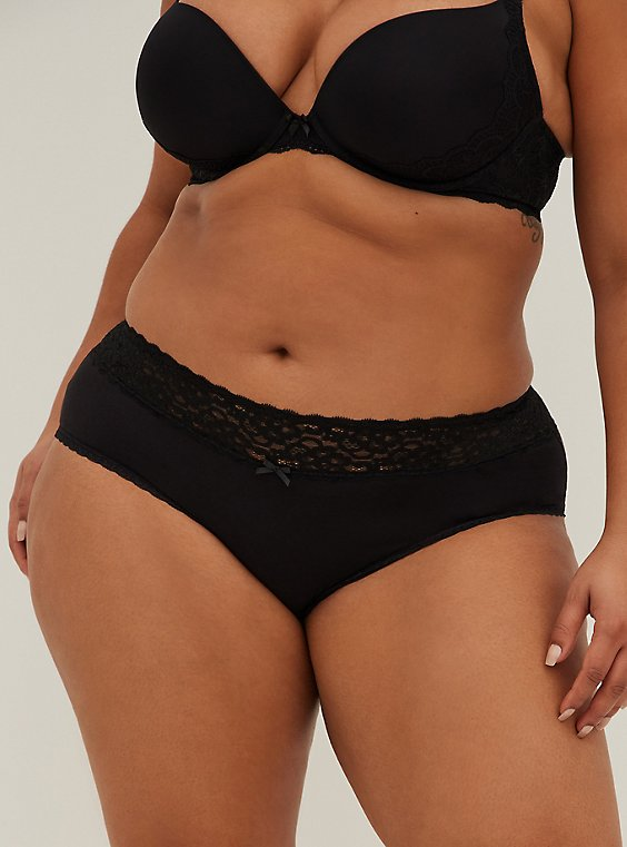 Black Wide Lace Cotton Cheeky Panty, , hi-res