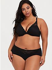 Black Wide Lace Cotton Cheeky Panty, , fitModel1-alternate