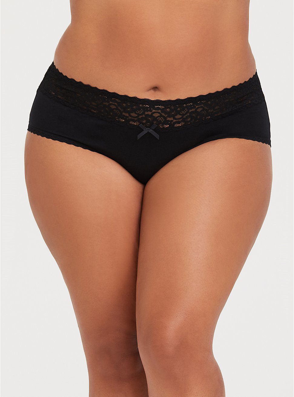Black Wide Lace Cotton Cheeky Panty, , fitModel1-hires