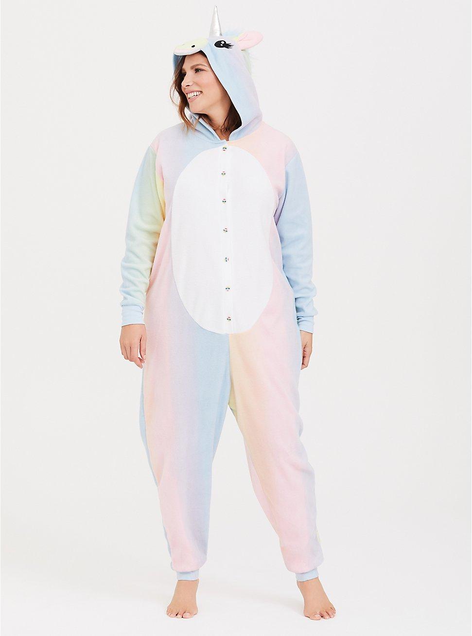 Pastel Rainbow Unicorn Fleece Onesie, MULTI, hi-res