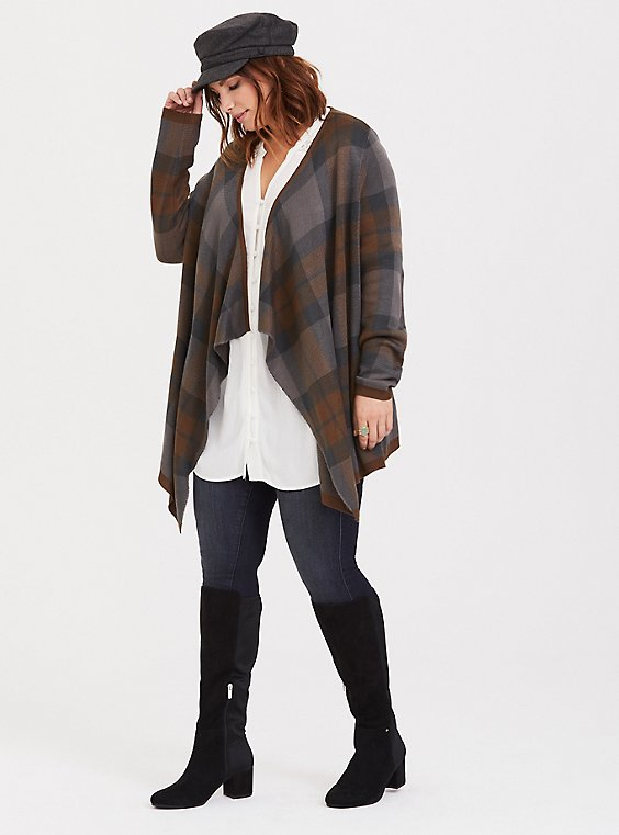 Outlander Plaid Tartan Drape Cardigan, , hi-res