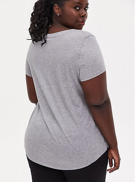 Plus Size Classic Fit V-Neck Tee - Heritage Cotton Light Grey, HEATHER GREY, alternate