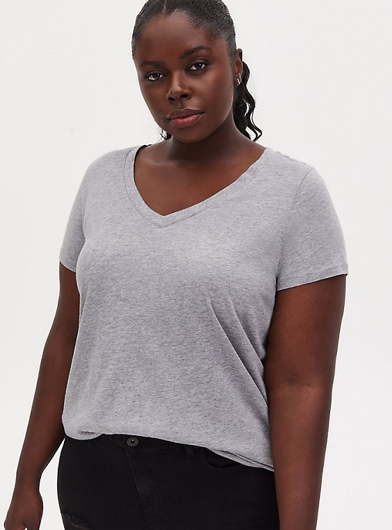 Plus Size Classic Fit V-Neck Tee - Heritage Cotton Light Grey , , hi-res