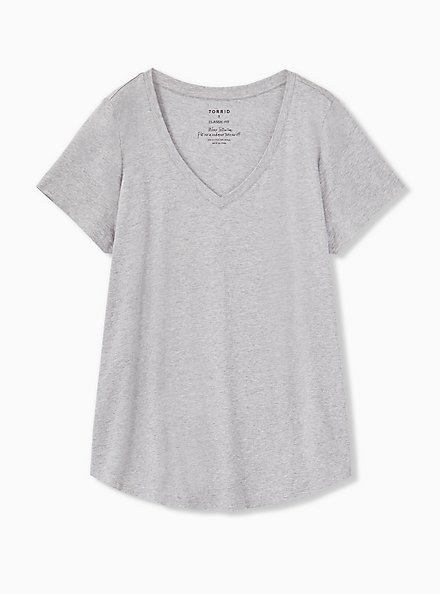 Plus Size Classic Fit V-Neck Tee - Heritage Cotton Light Grey, HEATHER GREY, hi-res