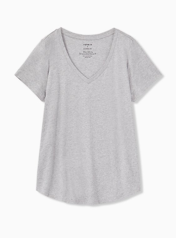 Classic Fit V-Neck Tee - Heritage Cotton Light Grey, HEATHER GREY, ls