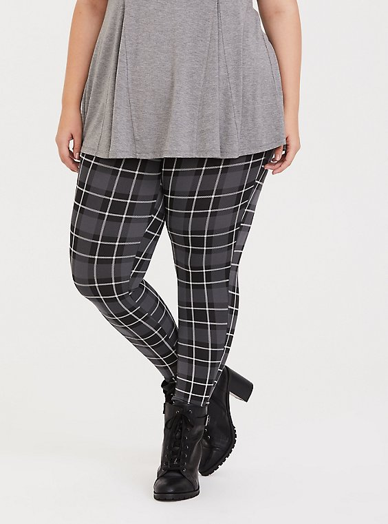 Premium Legging - Plaid Grey, , hi-res
