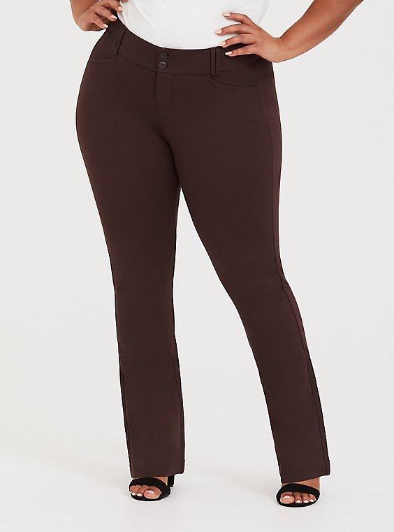 Studio Signature Stretch Chocolate Brown Premium Ponte Trouser, , hi-res