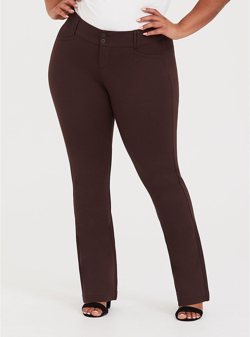Studio Signature Stretch Chocolate Brown Premium Ponte Trouser, BROWN, hi-res
